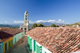 A Roof Top View of Colorful Buildings and the Bell Tower of Museo Nacional De La Lucha Bandidos Fotografisk tryk af Dmitri Alexander