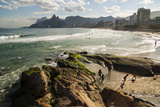 People Enjoy Arpoador Beach in View of Ipanema and Dois Irmaos Photographic Print by Eduardo Rubiano