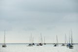 Anchored Sailboats on the Ocean Near Portobelo, Panama Photographic Print by Jonathan Kingston