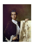Self Portrait Holding a Nude Study - 1746 - Spanish Neoclassicism Giclee Print by Luis Melendez
