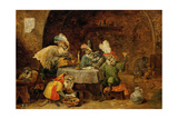 Monkeys Drinking And Smoking, 17th Century Giclee Print by David Teniers the Younger
