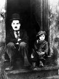 "Charlie Chaplin, Jackie Coogan. ""The Kid"" 1921, Directed by Charles Chaplin Fotografisk tryk"