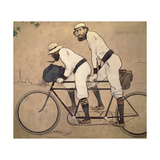 Ramon Casas And Father Romeu Riding a Tandem Giclee Print by Ramon Casas