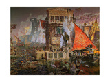 The Colossus of Rhodes Giclee Print by Antonio Muñoz degrain