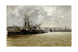 The Port of Rouen, Ca. 1884, Spanish School Giclee Print by Carlos De haes