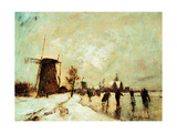Skating In Holland, 1890-1900 Giclee Print by Johan Barthold Jongkind