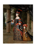 Maria Theresa of Austria And Her Son the Dauphin of France, Ca. 1664, French School Giclee Print by Charles Beaubrun