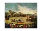 Bull Fight In a Village Giclee Print by Eugenio Lucas velazquez