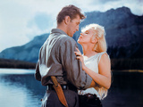 "Robert Mitchum, Marilyn Monroe. ""River of No Return"" 1954, Directed by Otto Preminger Fotografie-Druck"