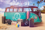 VW Camper Retro Poster Kunstdrucke