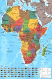 Africa Map Reference Poster Affiche