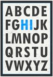 Hi Alphabet Blue Art Print Poster Prints