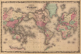Old World Map Colorful Art Print Poster Posters