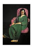 Laurette In a Green Robe, Black Background, 1916 Giclee-trykk av Henri Matisse