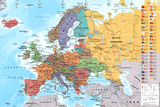 European Map Educational Poster Prints
