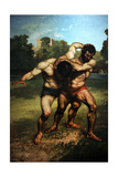 Wrestlers, 1853. Museum of Fine Arts. Budapest. Hungary Giclee Print by Gustave Courbert