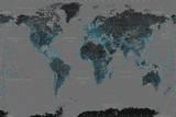 World Map - Black With Blue Kunstdrucke