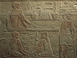 Egypt, Cairo, Ancient Memphis, Saqqara, Relief of Working Weavers Photographic Print
