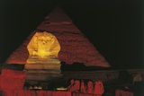Great Sphinx and Chefren Pyramid Behind at Night Photographic Print