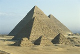 Egypt, Cairo, Ancient Memphis, Pyramids at Giza Fotografisk tryk