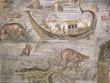 Detail of Crocodiles and Hippopotami on Nile Nilotic Mosaic Photographic Print