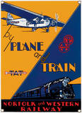 Plane & Train Porcelain Sign Wall Sign