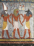Pharaoh Between Gods Harsiesis and Anubis Fotografie-Druck
