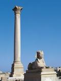 Egypt, Alexandria, Pompey's Pillar and Granite Sphinx Photographic Print