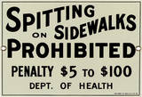 No Spitting on Sidewalks Porcelain Sign Wall Sign