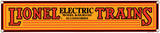 Lionel Electric Yellow Porcelain Sign Wall Sign