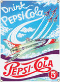 Pepsi Thunderbirds Porcelain Sign Wall Sign