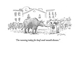 """I'm running today for hoof-and-mouth disease."" - Cartoon Regular Giclee Print by Mike Twohy"