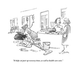 """It helps cut post-op recovery times, as well as health-care costs."" - Cartoon Regular Giclee Print by Mike Twohy"