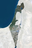 Israel, True Colour Satellite Image with Border and Mask Photographic Print