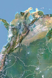 Colombia, Satellite Image with Bump Effect, with Border Photographic Print