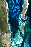 Satellite Image of Bazaruto Archipelago, Mozambique Photographic Print