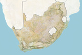 South Africa, Relief Map with Border and Mask Photographic Print