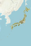 Japan, Relief Map with Border and Mask Photographic Print