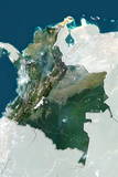 Colombia, True Colour Satellite Image with Border and Mask Photographic Print