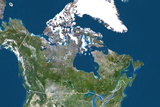 Canada, True Color Satellite Image with Border, Photographic Print