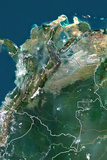 Colombia, True Colour Satellite Image with Border Photographic Print