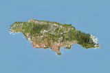 Jamaica, Satellite Image with Bump Effect Photographic Print