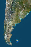 Argentina, True Colour Satellite Image with Border Photographic Print