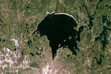 Satellite Image of Wanapitei Lake Meteor Impact Crater, Manitoba, Canada Photographic Print