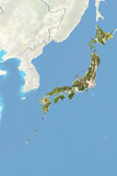 Japan, Satellite Image with Bump Effect, with Border and Mask Photographic Print