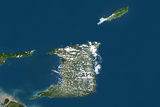 Trinidad and Tobago, True Colour Satellite Image with Border Photographic Print