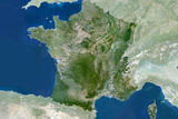 Satellite Image of France Photographic Print