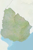 Uruguay, Relief Map with Border and Mask Photographic Print