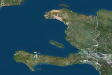 Haiti, True Colour Satellite Image with Border Photographic Print