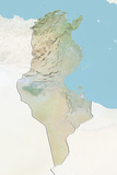 Tunisia, Relief Map with Border and Mask Stampa fotografica